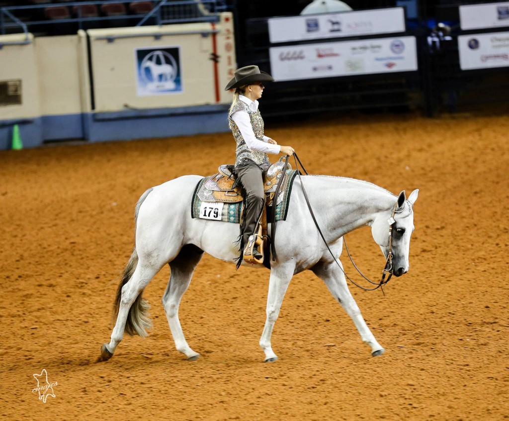 One of Blaze's most famous offspring: Grey Asset, pictured here with Moa Berglund at the AQHYA Youth World Show, where they took home the bronze trophy in Western Riding. Picture: Eric Mendrysa/Emajes Design