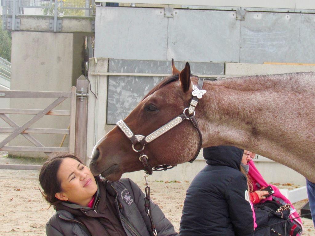 Fei Ehmann with her 2-YO mare GIRLS GOT MOTION; picture: DQHA/Leonie Küthmann
