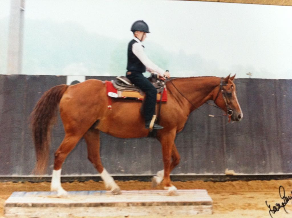 Leonie during her first Walk-Trot Trail class, 2006ish