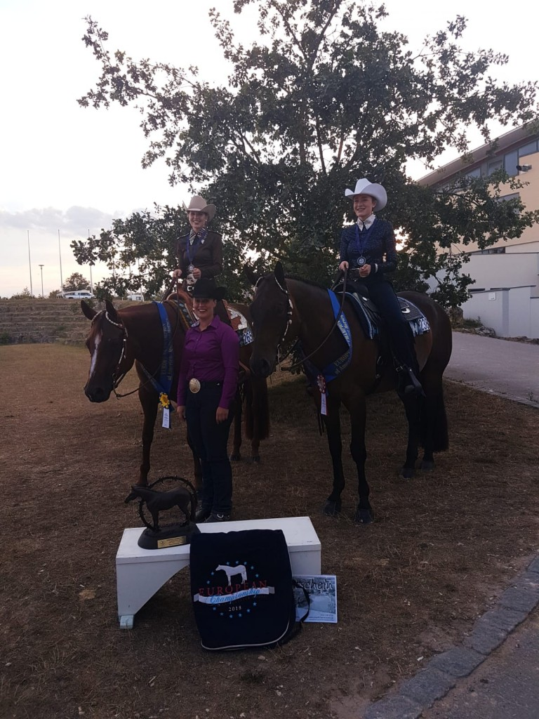 Laura with RR Suddenly Moonlite, Steffi Bubenzer and Louisa Fiedler with Ironmade after taking home the gold and silver medal in Youth Horsemanship at the ECQH 2018.